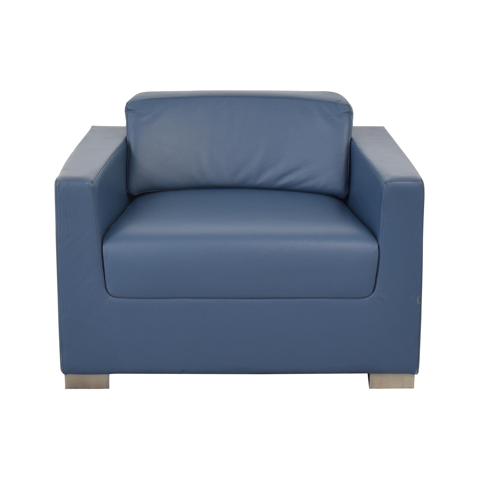 buy Bernhardt Bernhardt Design Blue Leather Arm Chair online