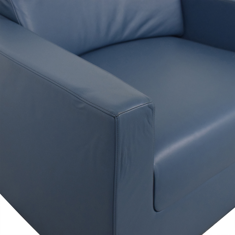 Bernhardt Bernhardt Design Blue Leather Arm Chair Accent Chairs