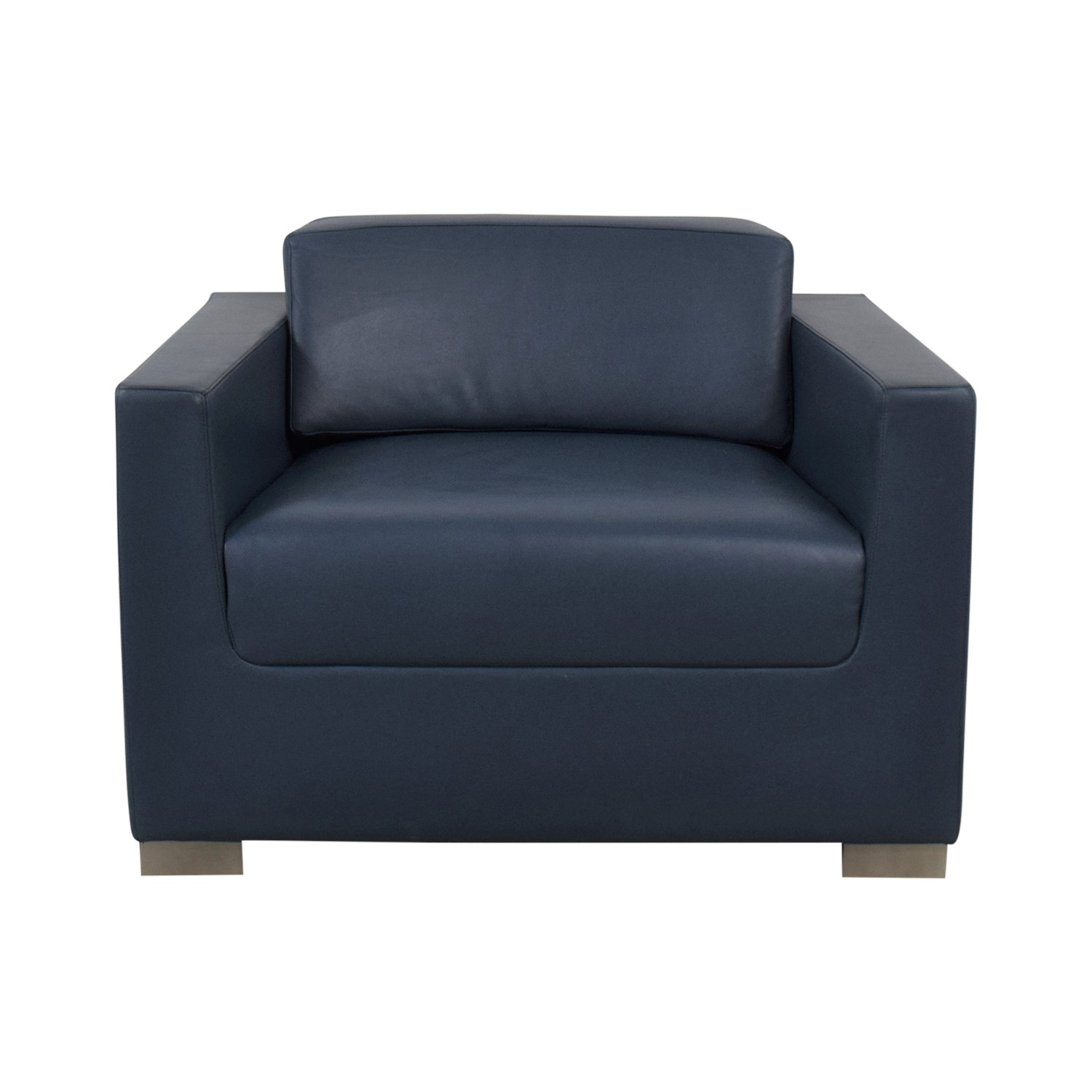 buy Bernhardt Design Blue Leather Arm Chair Bernhardt
