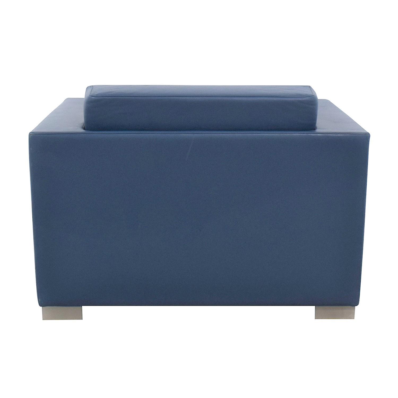 shop Bernhardt Design Blue Leather Arm Chair Bernhardt