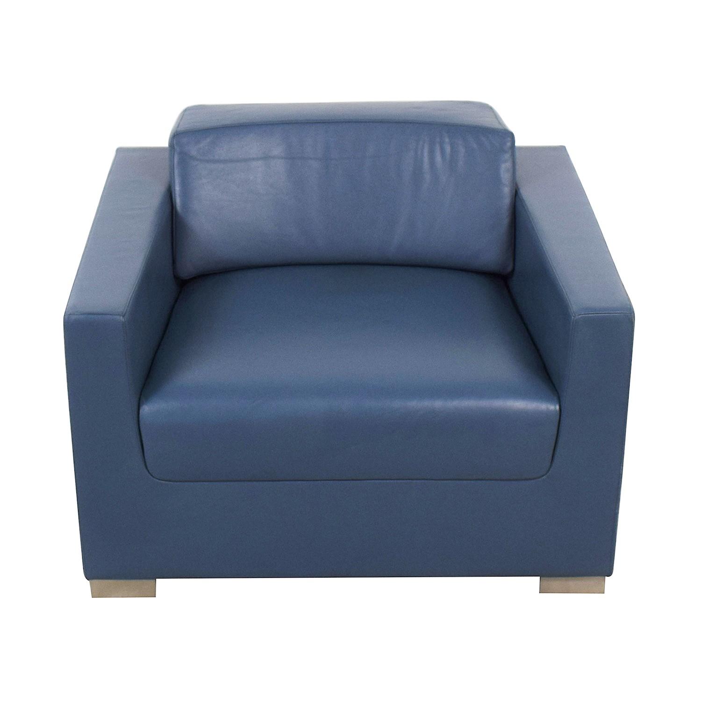 shop Bernhardt Design Blue Leather Arm Chair Bernhardt Accent Chairs