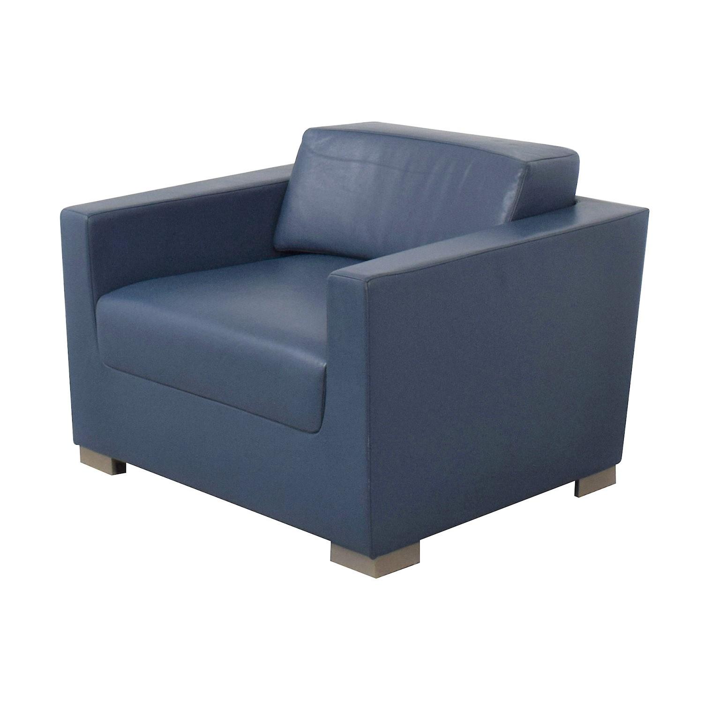 Bernhardt Bernhardt Design Blue Leather Arm Chair