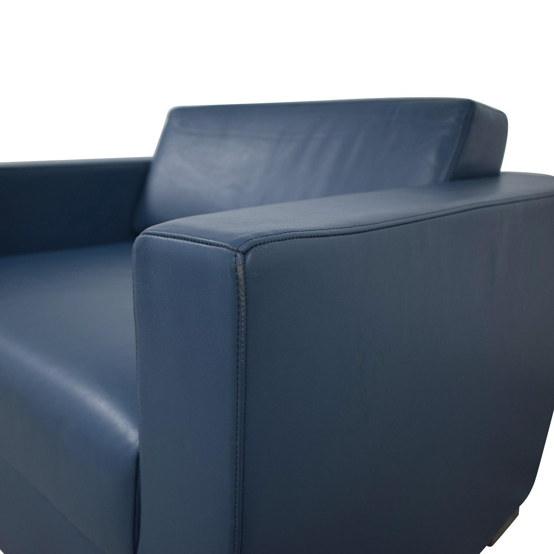 Bernhardt Bernhardt Design Blue Leather Arm Chair used