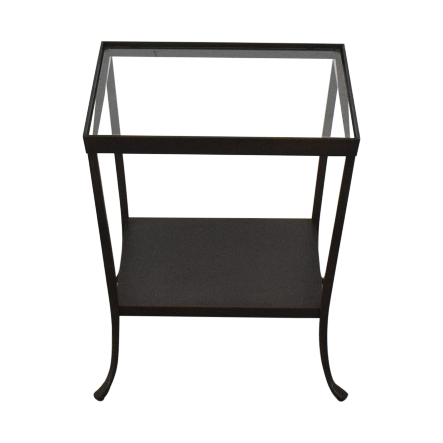 Crate & Barrel Crate & Barrel Square Glass & Metal Accent End Table nyc