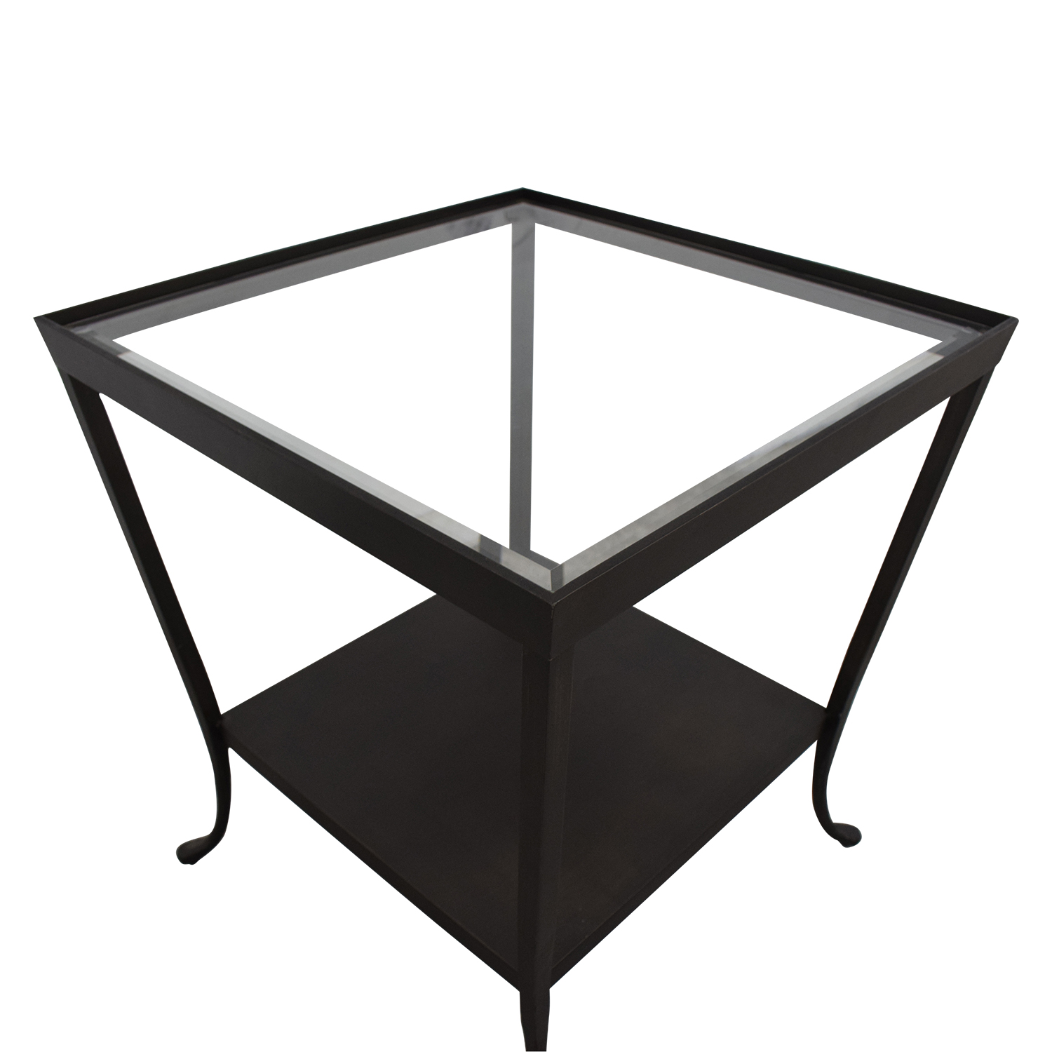 Crate & Barrel Crate & Barrel Square Glass & Metal Accent End Table for sale