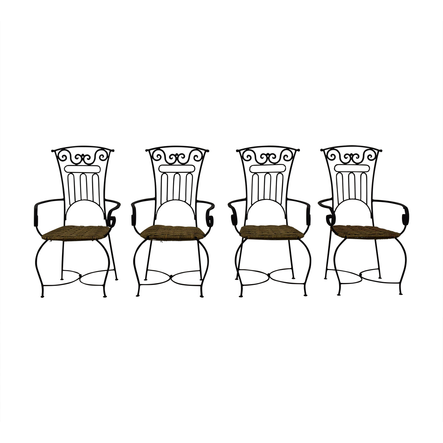 Iron Bistro Chair Set Black, Brown