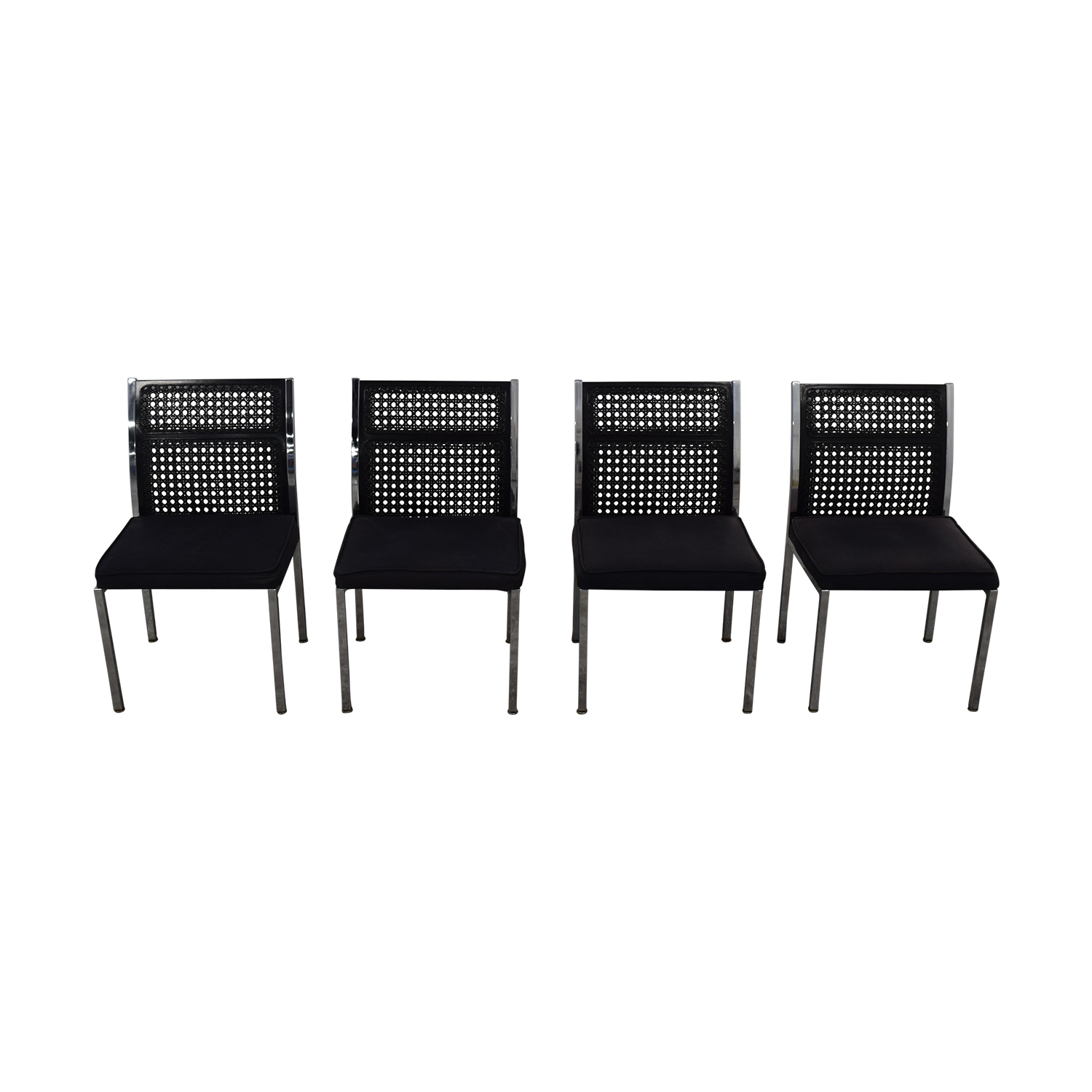 By Design Black Cane Back Chairs sale