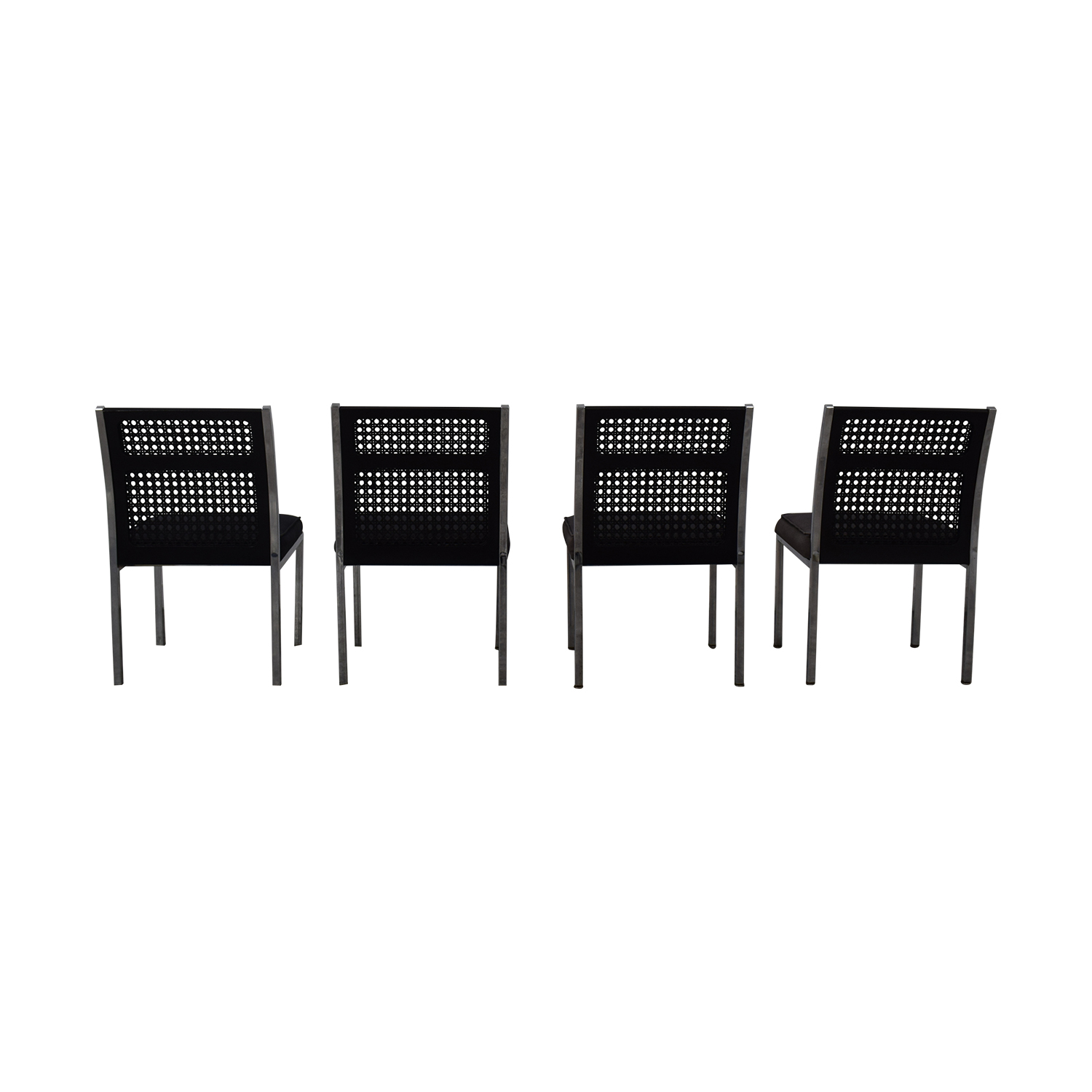 By Design By Design Black Cane Back Chairs for sale
