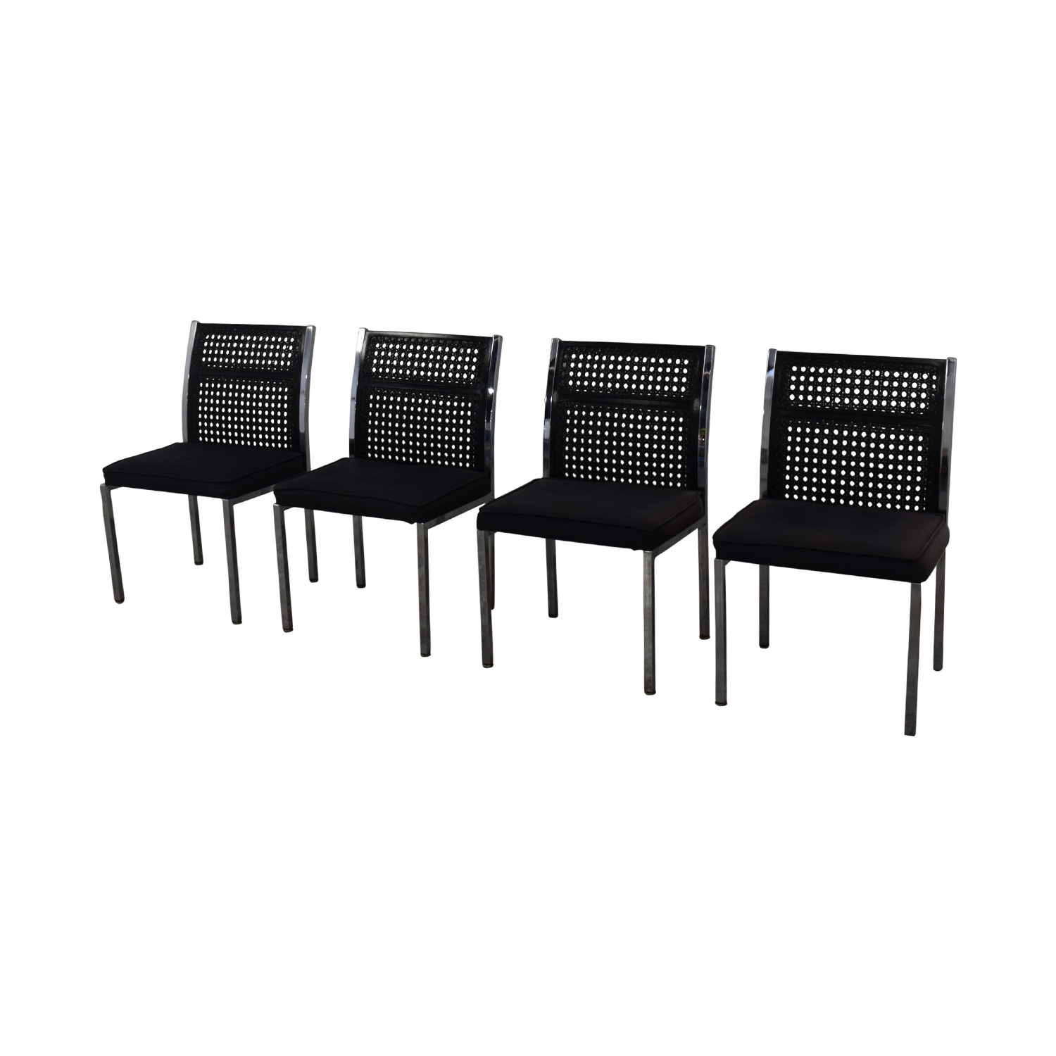 By Design Black Cane Back Chairs / Chairs