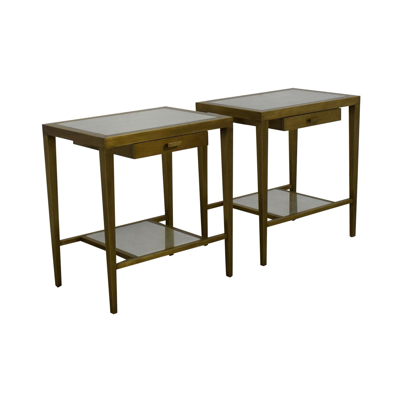 Geoffrey Bradfield Geoffrey Bradfield Brass Mirrored End Tables used