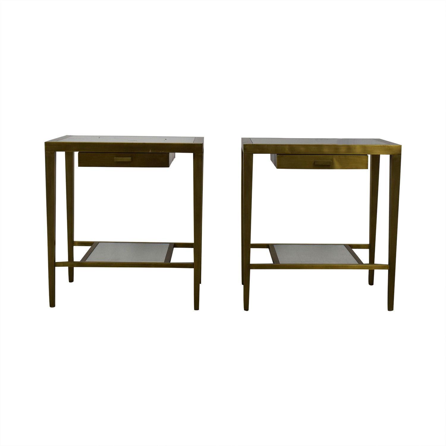 Geoffrey Bradfield Brass Mirrored End Tables / Tables