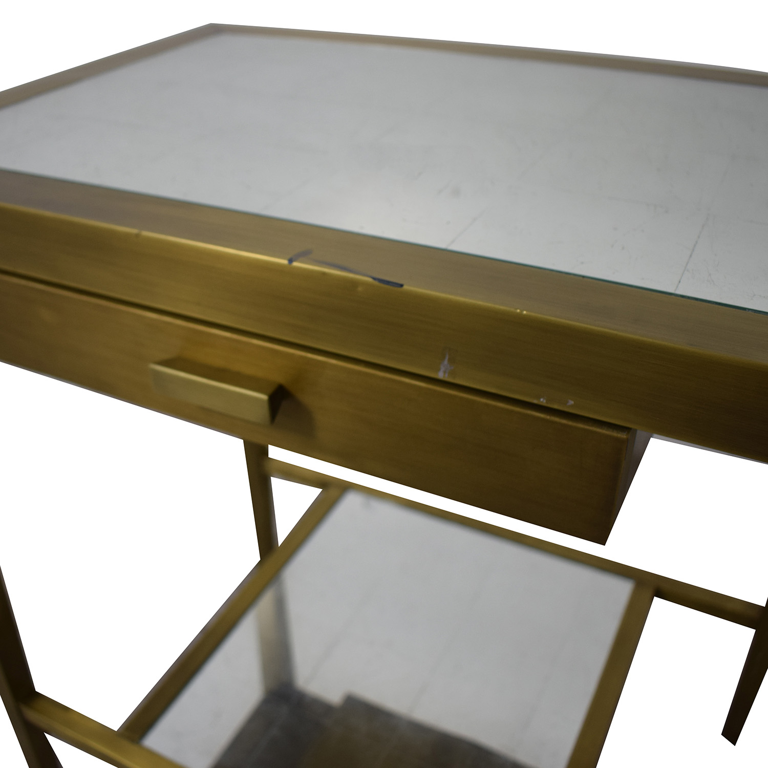 Geoffrey Bradfield Brass Mirrored End Tables / End Tables