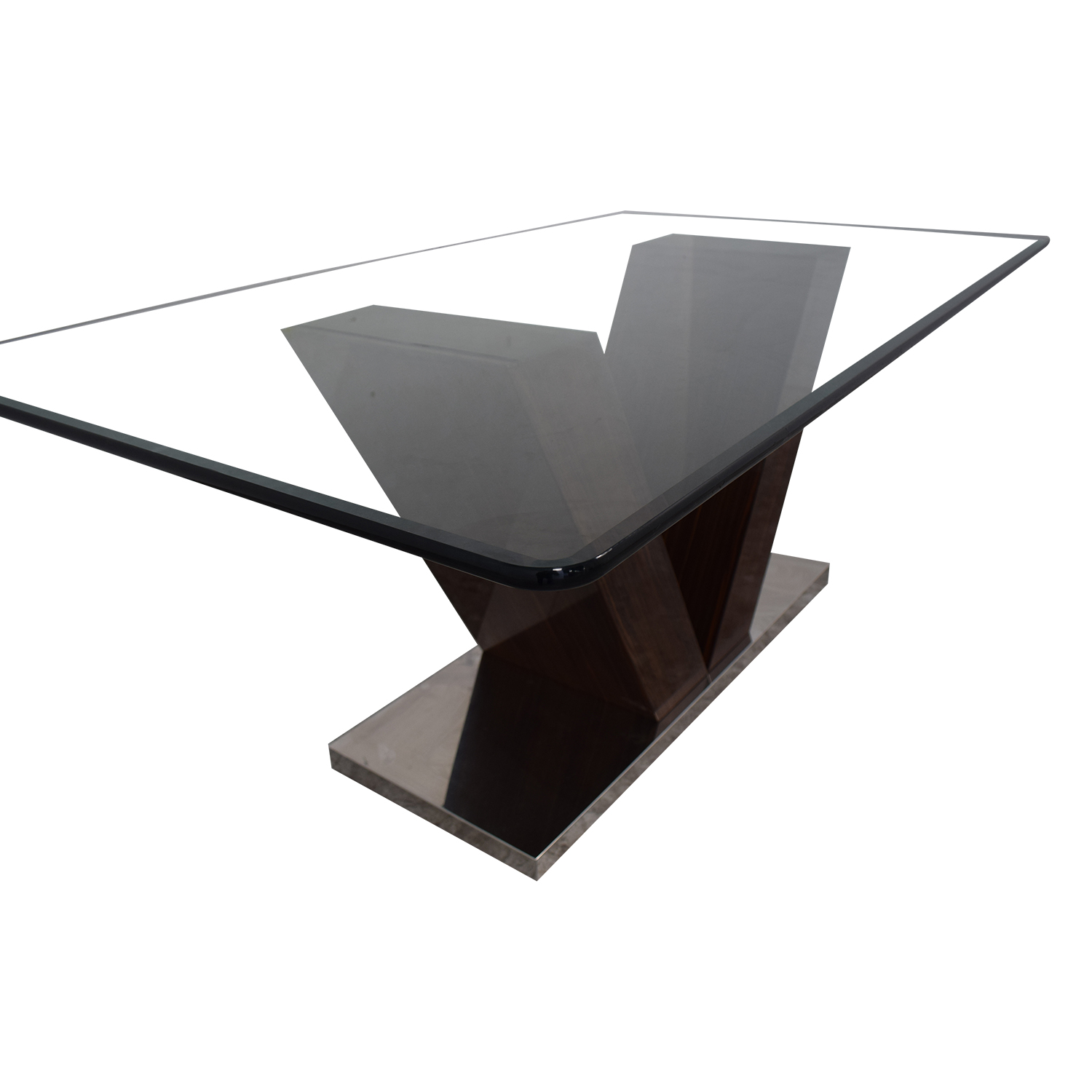 buy V-Shaped Base Glass Dining Table  Tables