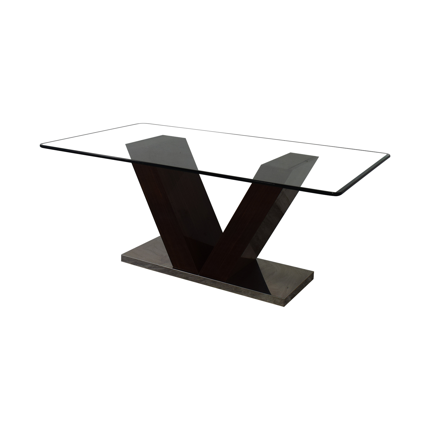 V-Shaped Base Glass Dining Table nyc