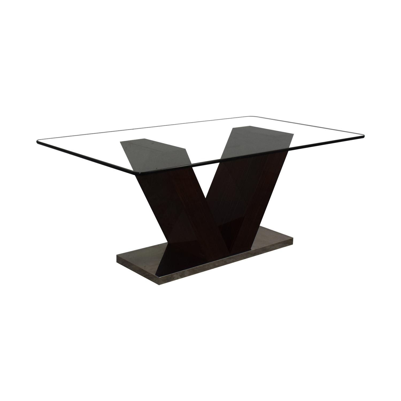 buy V-Shaped Base Glass Dining Table