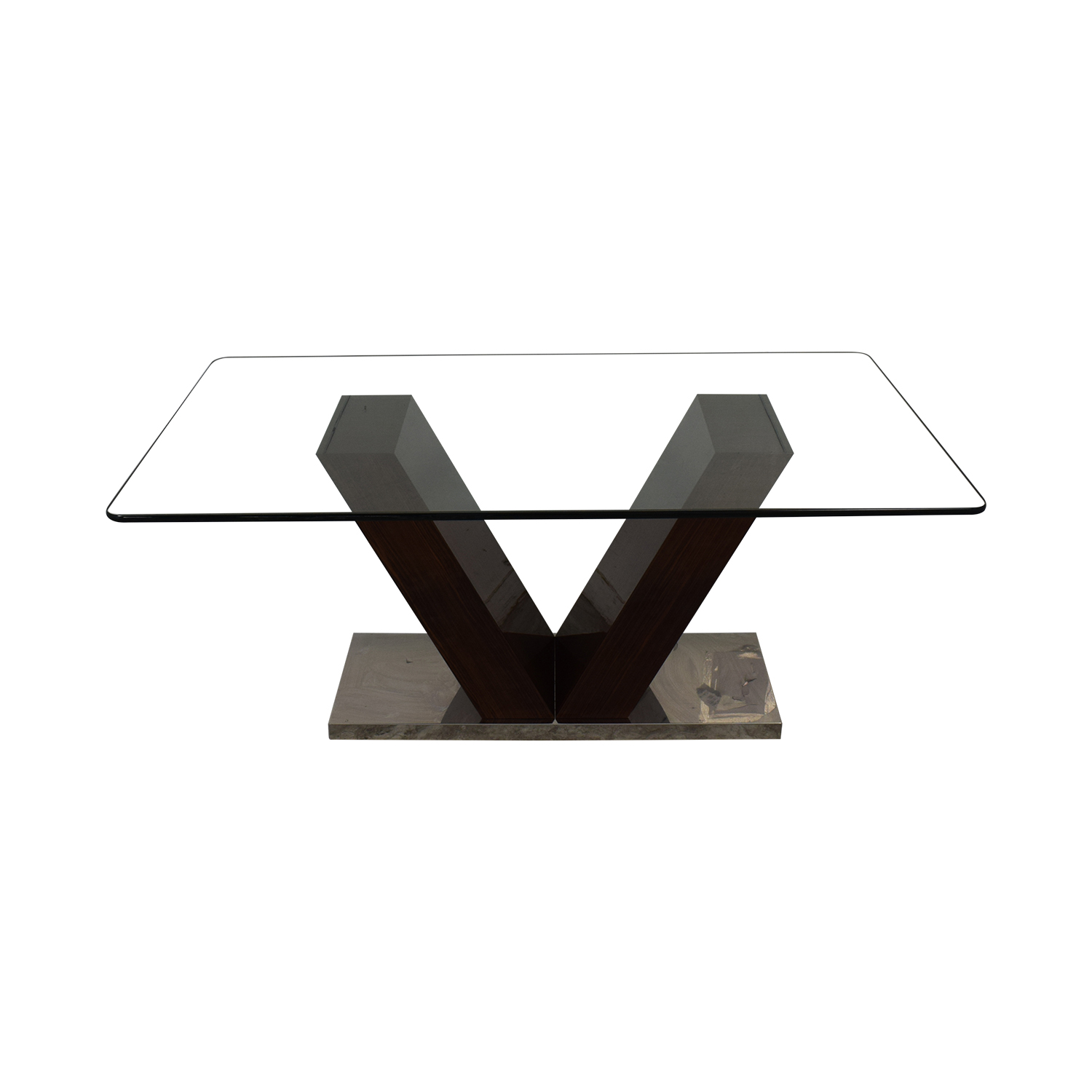 V-Shaped Base Glass Dining Table