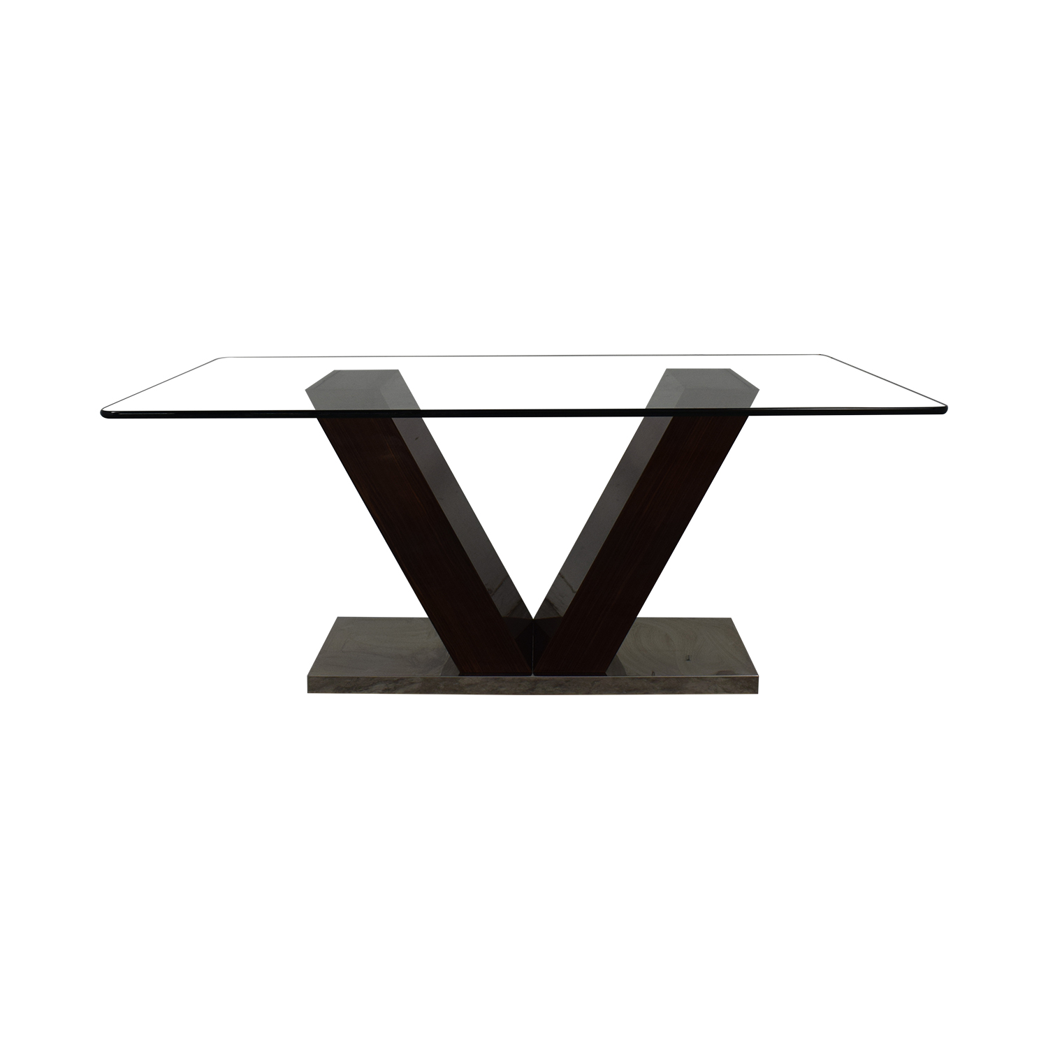 V-Shaped Base Glass Dining Table Tables