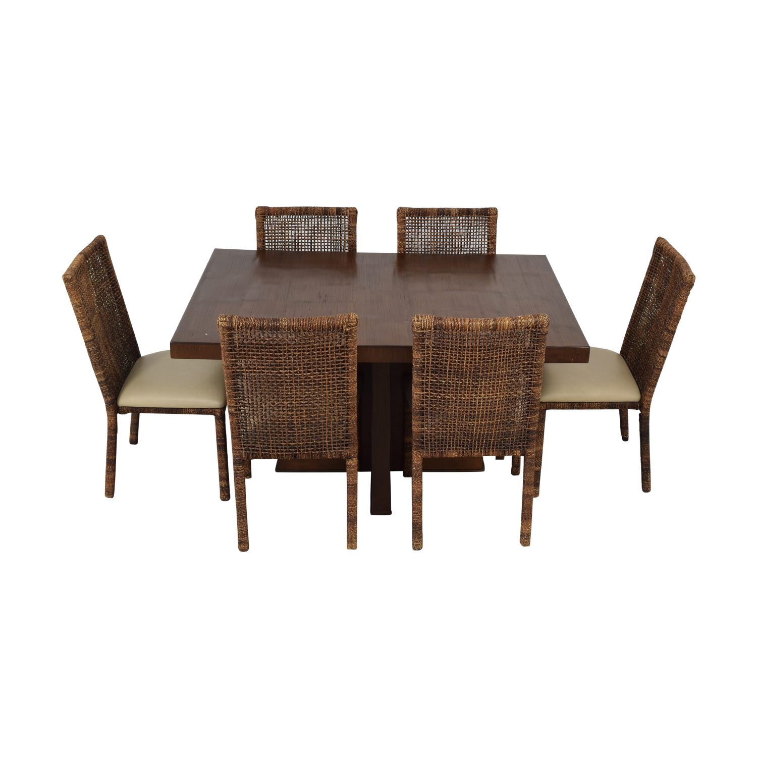 Upholstered Wicker Dining Chairs With Extendable Table Tables