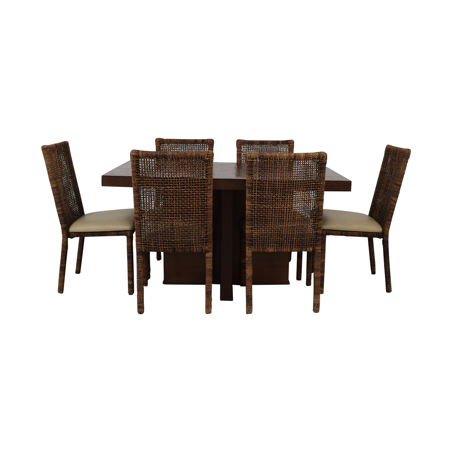 Upholstered Wicker Dining Chairs With Extendable Table nyc