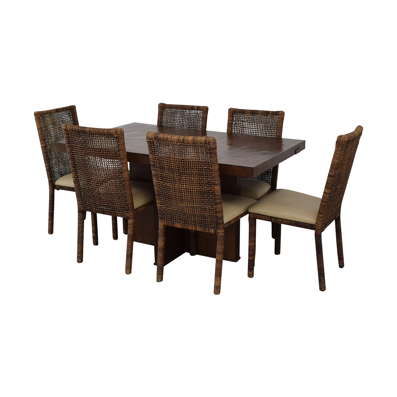 Upholstered Wicker Dining Chairs With Extendable Table used