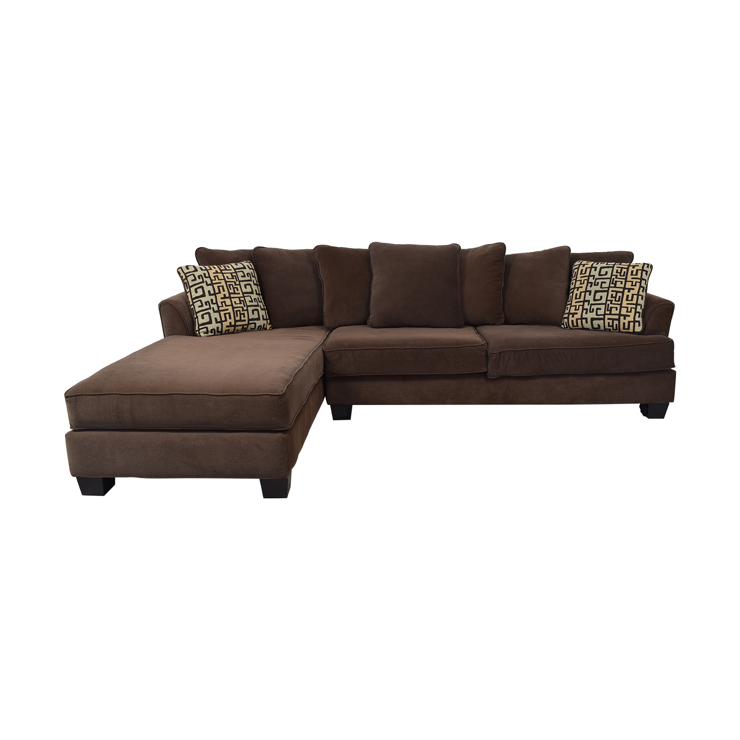 76 Off Raymour Flanigan Two Piece Sectional Microfiber Sofa Sofas
