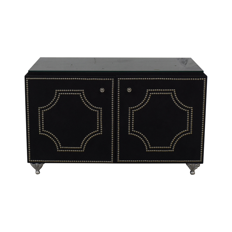 Geoffrey Bradfield Geoffrey Bradfield Suede Cabinet With Glass Top nyc