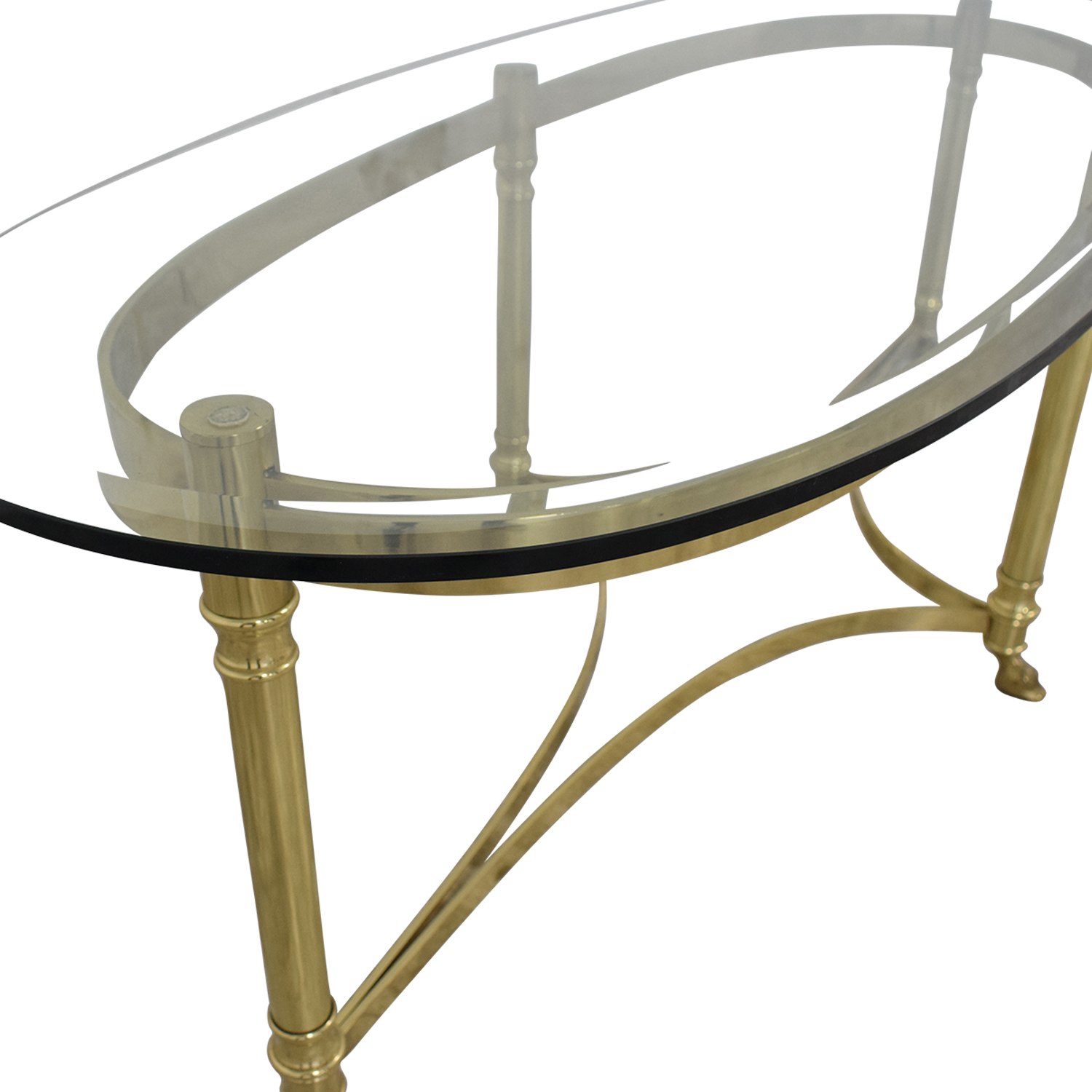 Glass And Brass Coffee Table / Tables