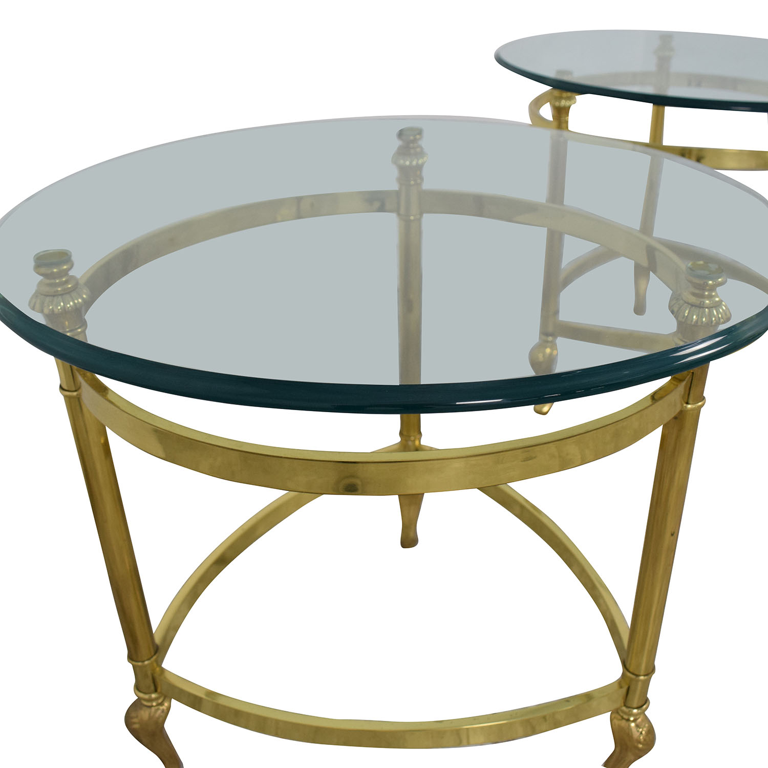 Sleek Glass and Gold End Tables second hand