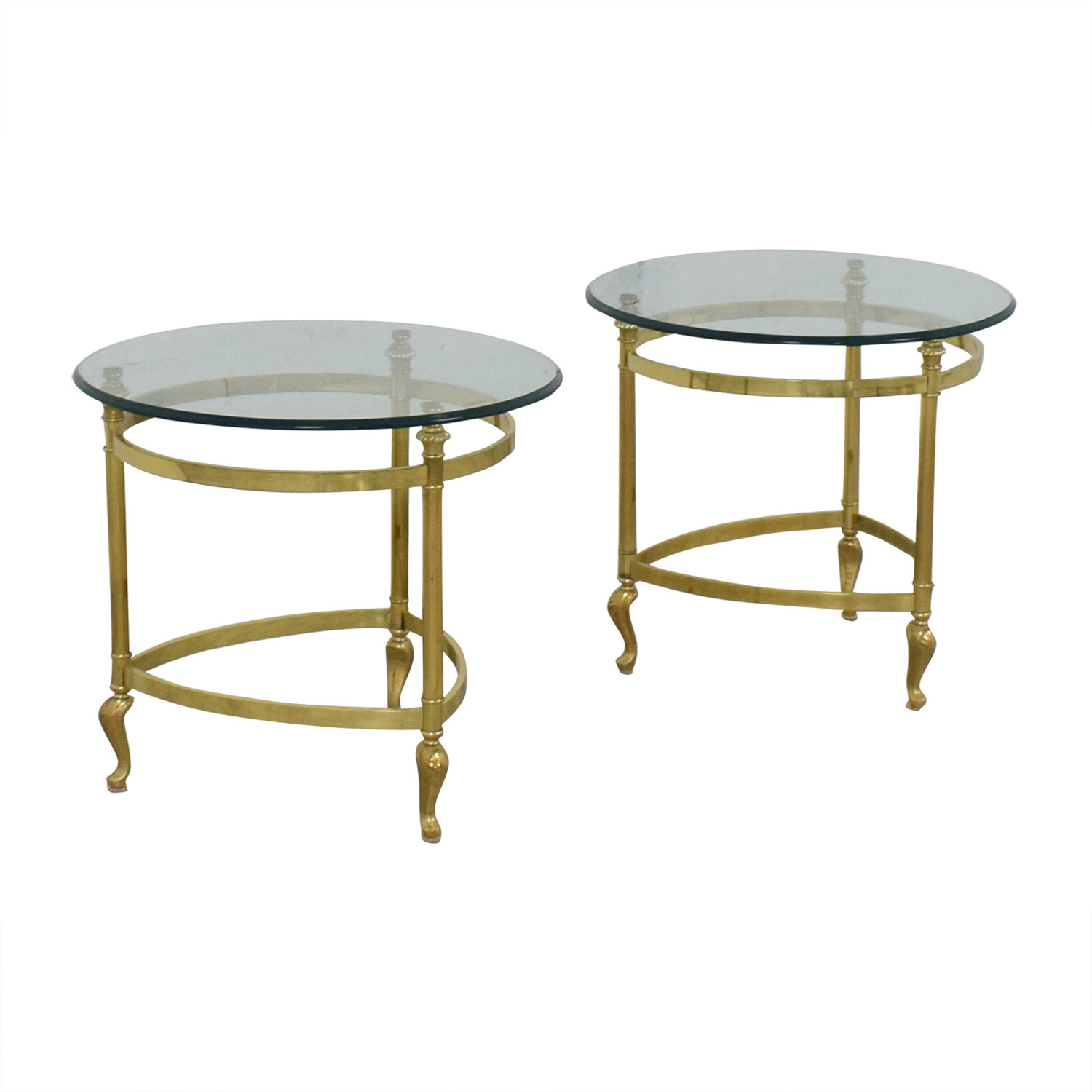 Sleek Glass and Gold End Tables nyc
