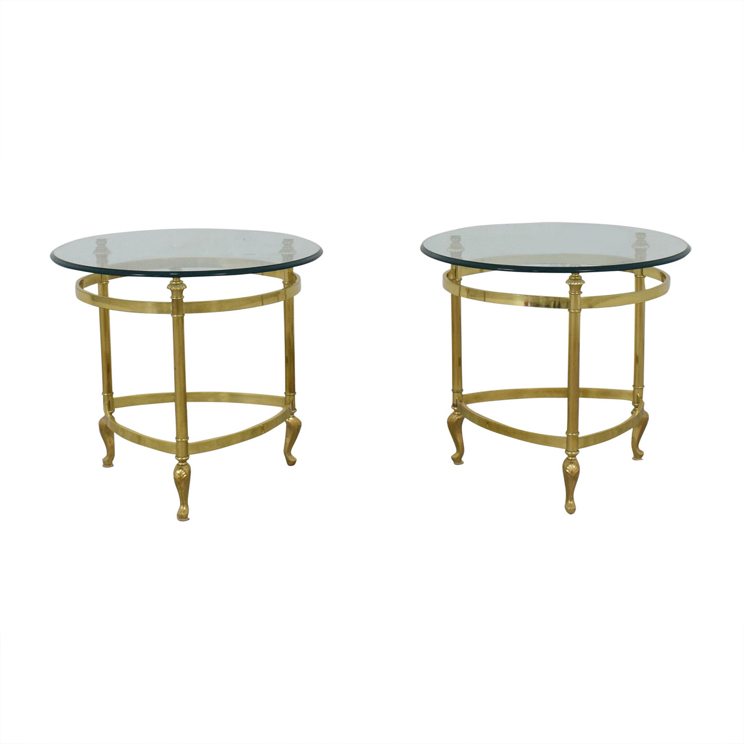 Sleek Glass and Gold End Tables for sale