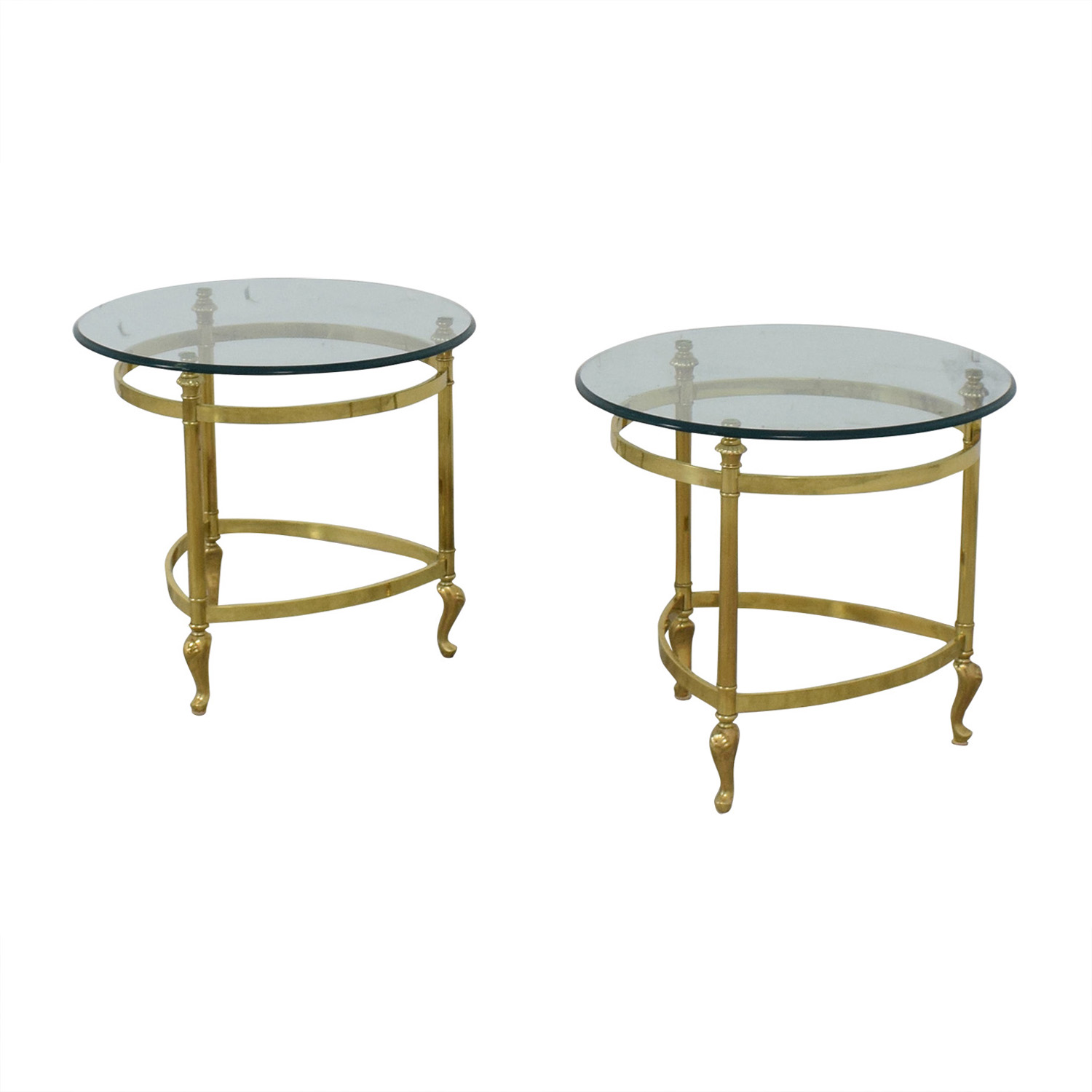 Sleek Glass and Gold End Tables / Tables