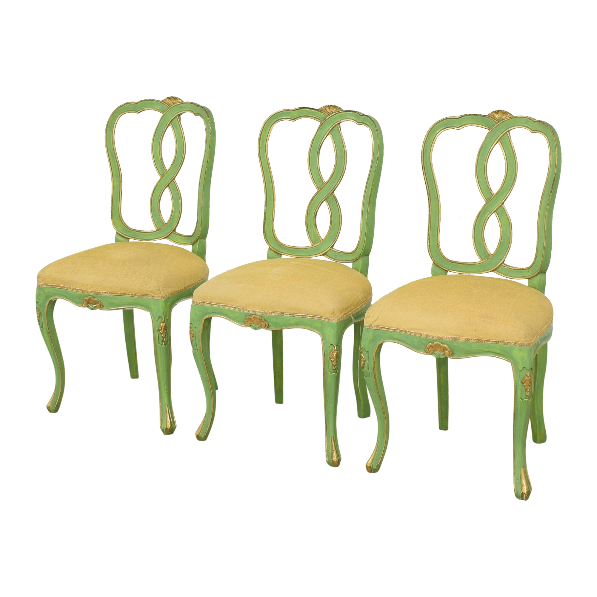 Bergdorf Goodman Bergdorf Goodman Green and Gold Chairs used