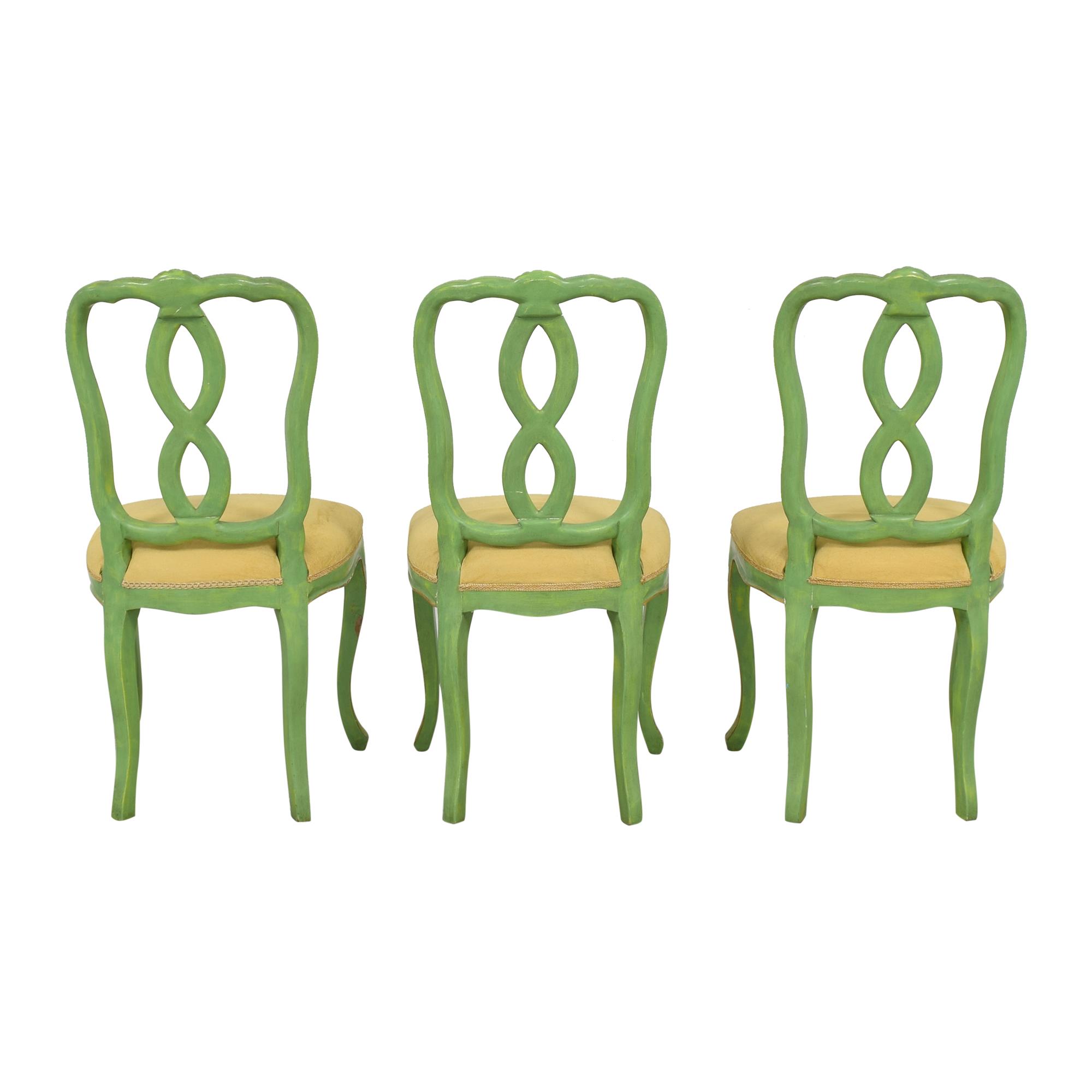 Bergdorf Goodman Bergdorf Goodman Green and Gold Chairs beige