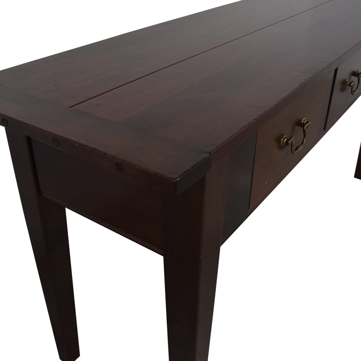 89% OFF - Dark Brown Three Drawer Entry Console / Tables