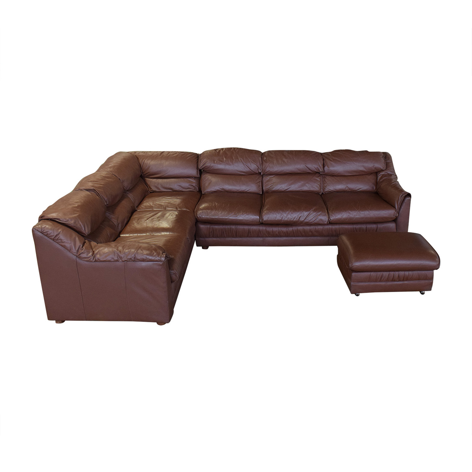 Emerson Leather Emerson Leather Sectional Sofa and Ottoman used