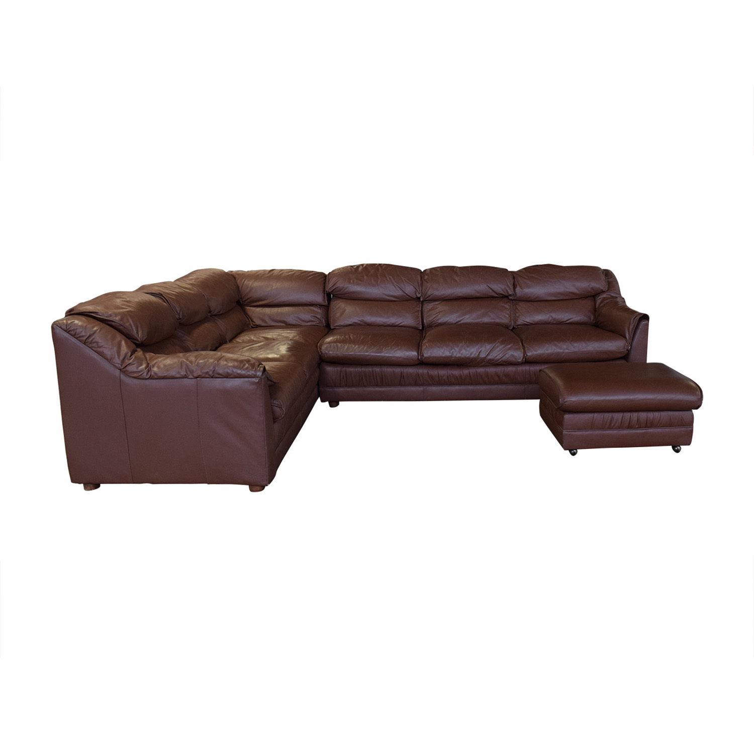 Emerson Leather Emerson Leather Sectional And Ottoman second hand