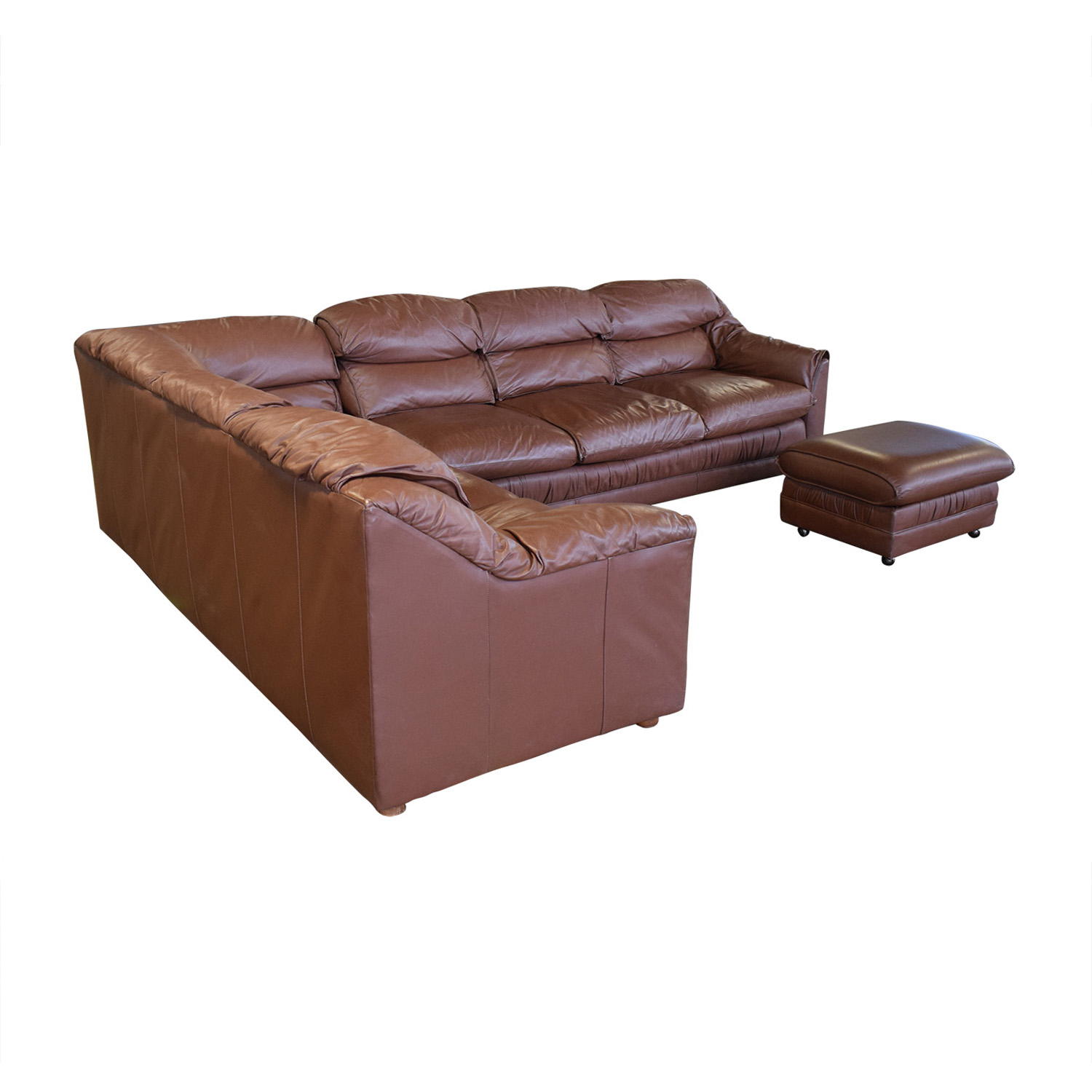 shop Emerson Leather Sectional Sofa and Ottoman Emerson Leather