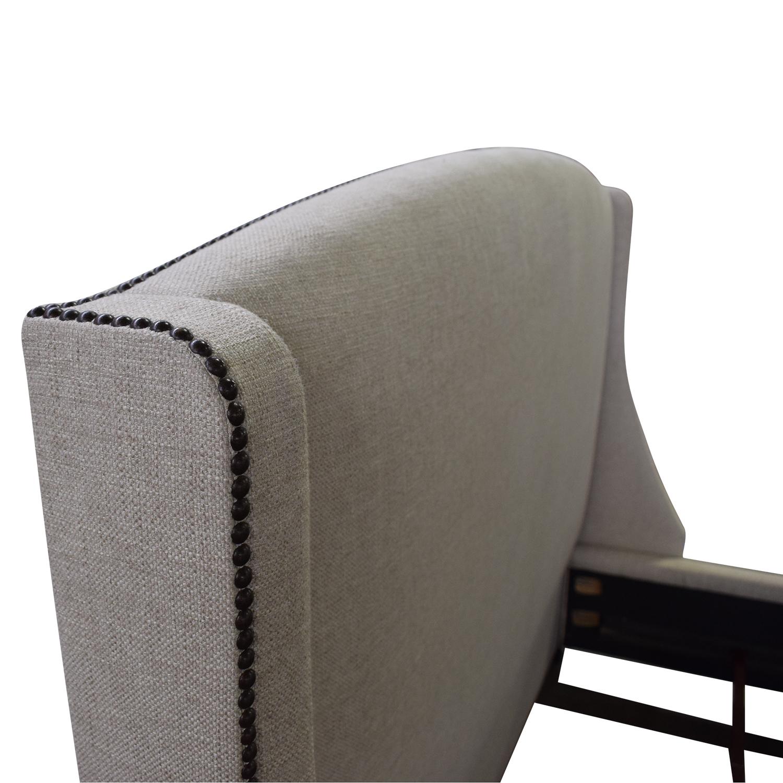 Bernhardt Bernhardt Cooper Upholstered Nailhead Winghead Queen Bed gray