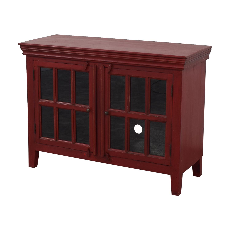 buy Crate & Barrel Rojo Red Media Storage Cabinet Crate & Barrel