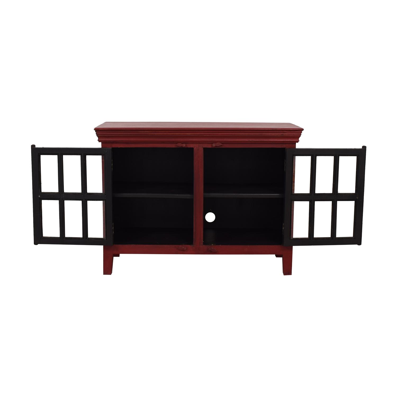 buy Crate & Barrel Rojo Red Media Storage Cabinet Crate & Barrel Media Units