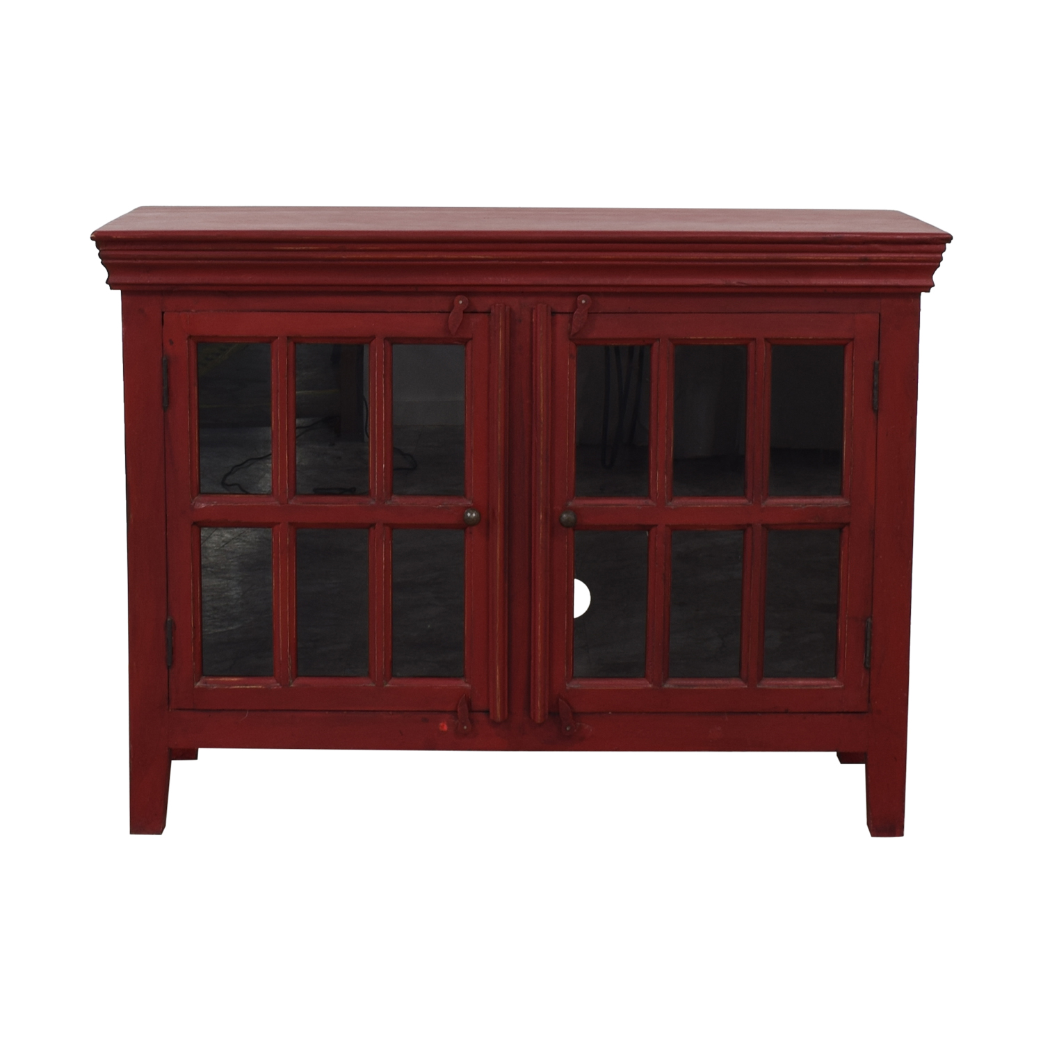 Crate & Barrel Rojo Red Media Storage Cabinet / Media Units