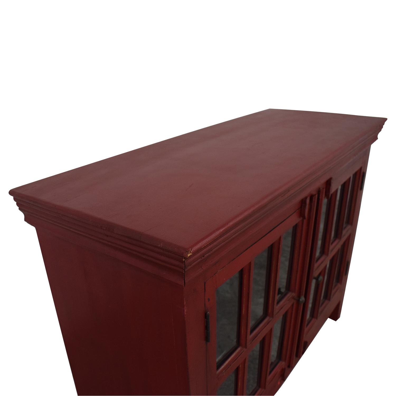 shop Crate & Barrel Rojo Red Media Storage Cabinet Crate & Barrel