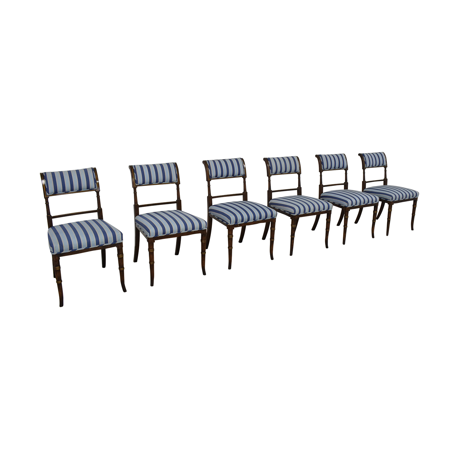 Hickory Chair Hickory Chair Striped Blue Dining Chairs