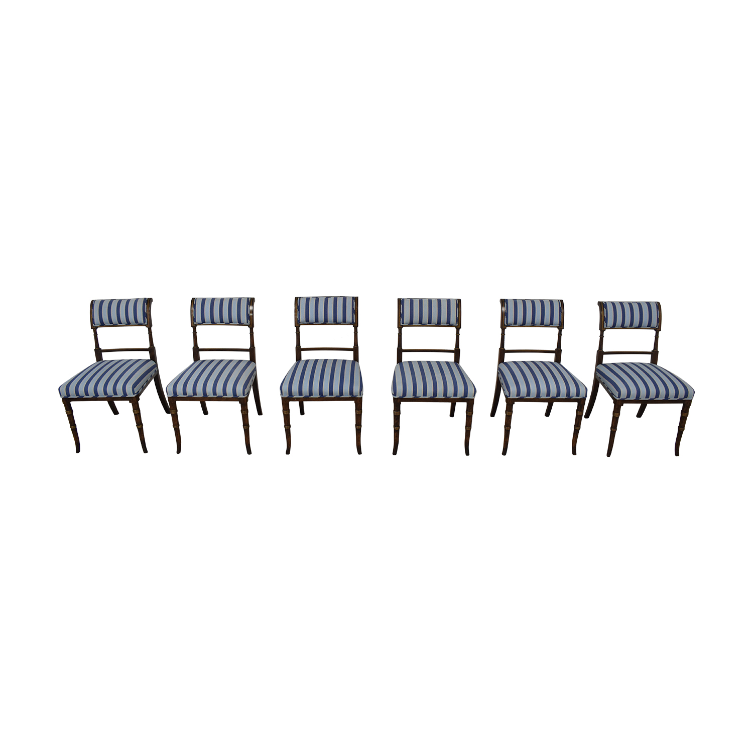 Hickory Chair Hickory Chair Striped Blue Dining Chairs nyc