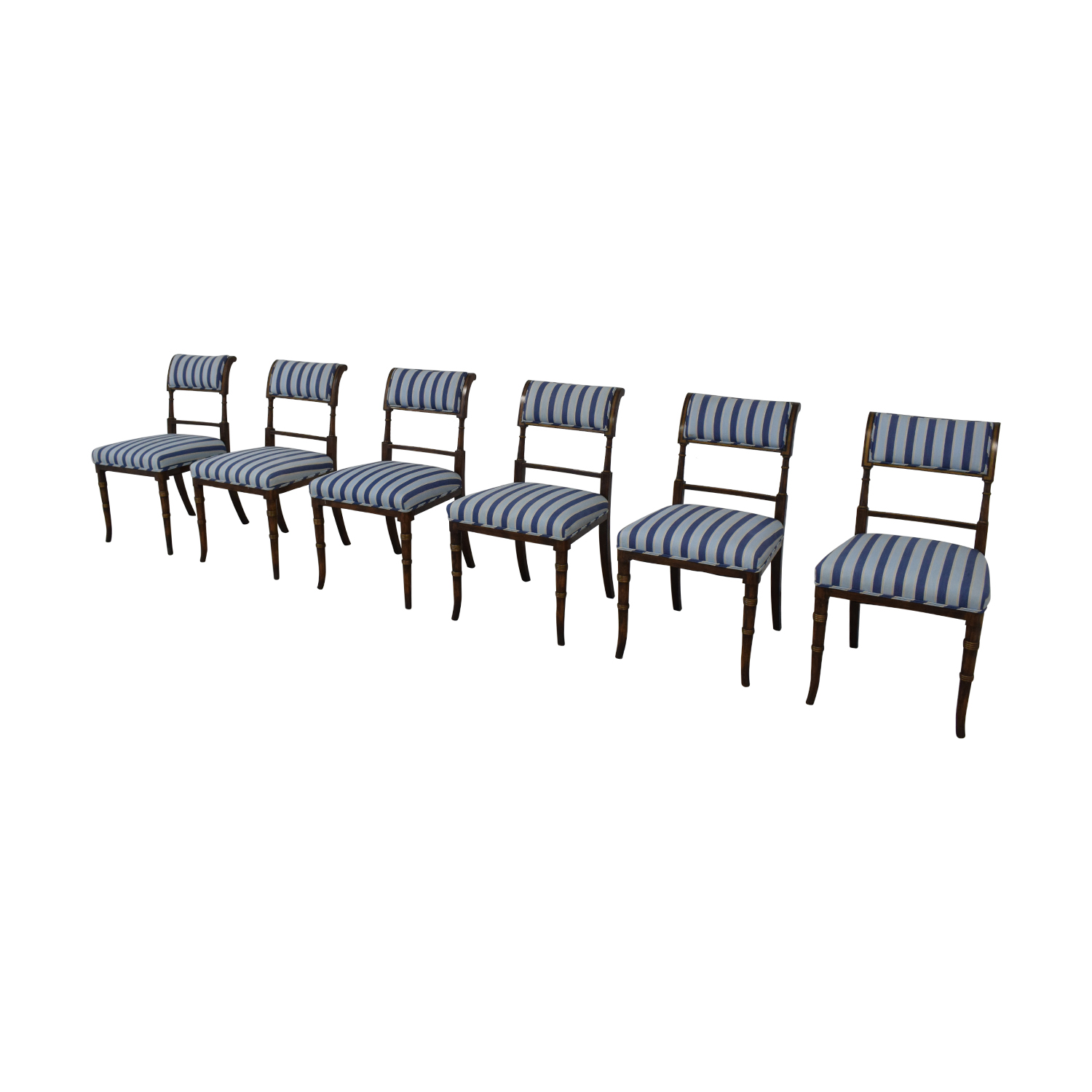 shop Hickory Chair Striped Blue Dining Chairs Hickory Chair Dining Chairs