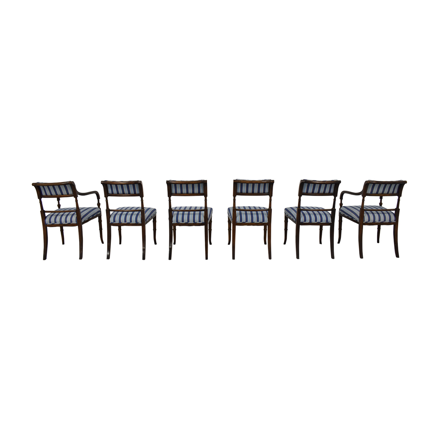 Hickory Chair Hickory Chair Striped Blue Dining Chairs discount