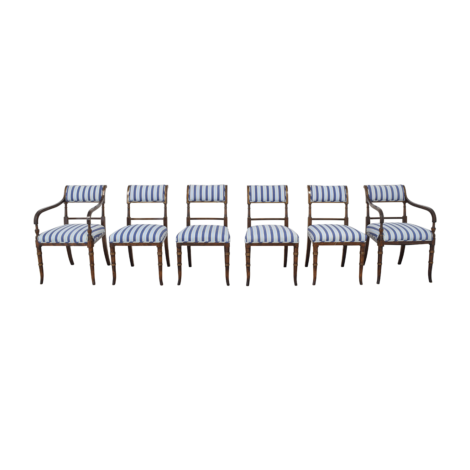Hickory Chair Striped Blue Dining Chairs sale
