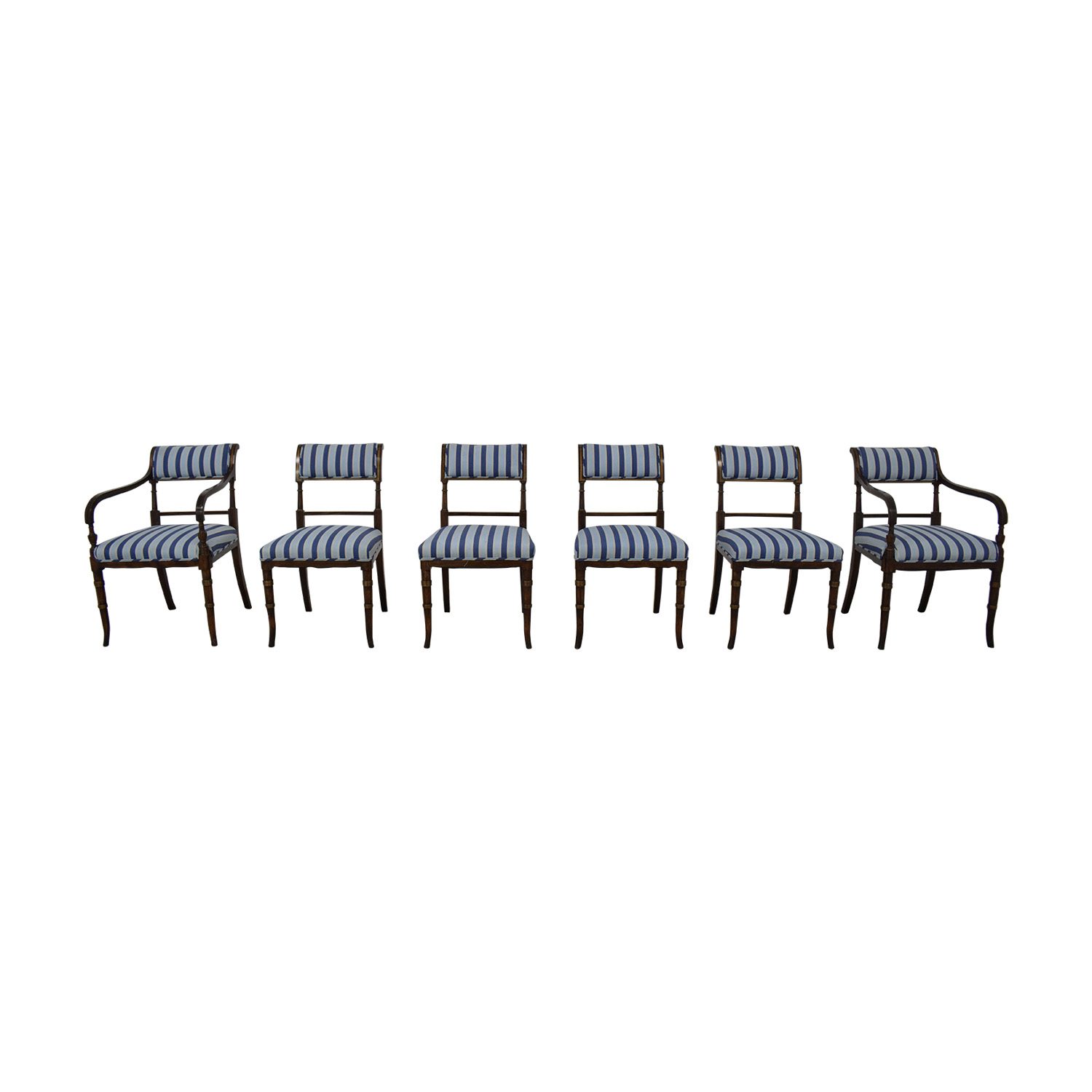 buy Hickory Chair Striped Blue Dining Chairs Hickory Chair Dining Chairs
