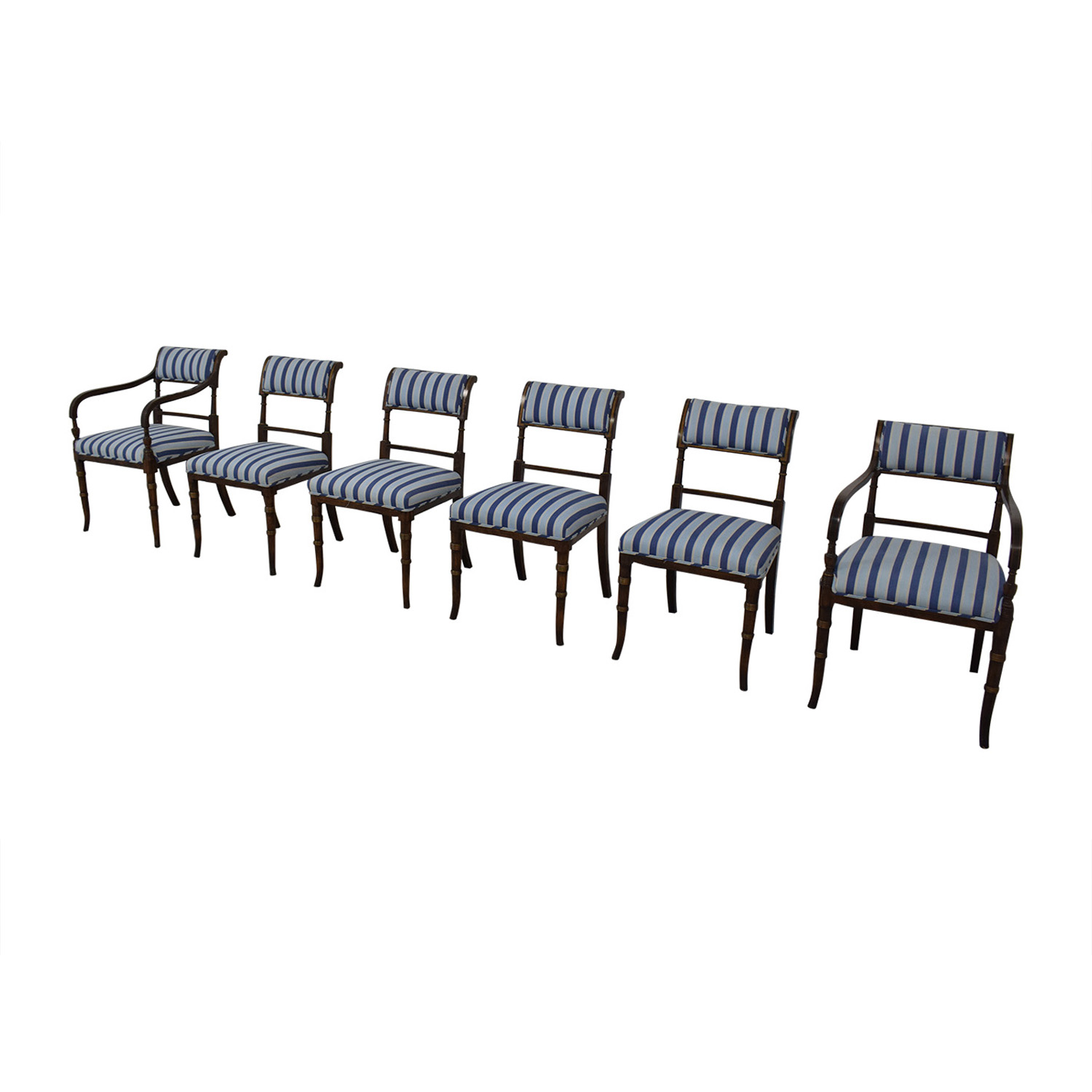 Hickory Chair Hickory Chair Striped Blue Dining Chairs Dining Chairs