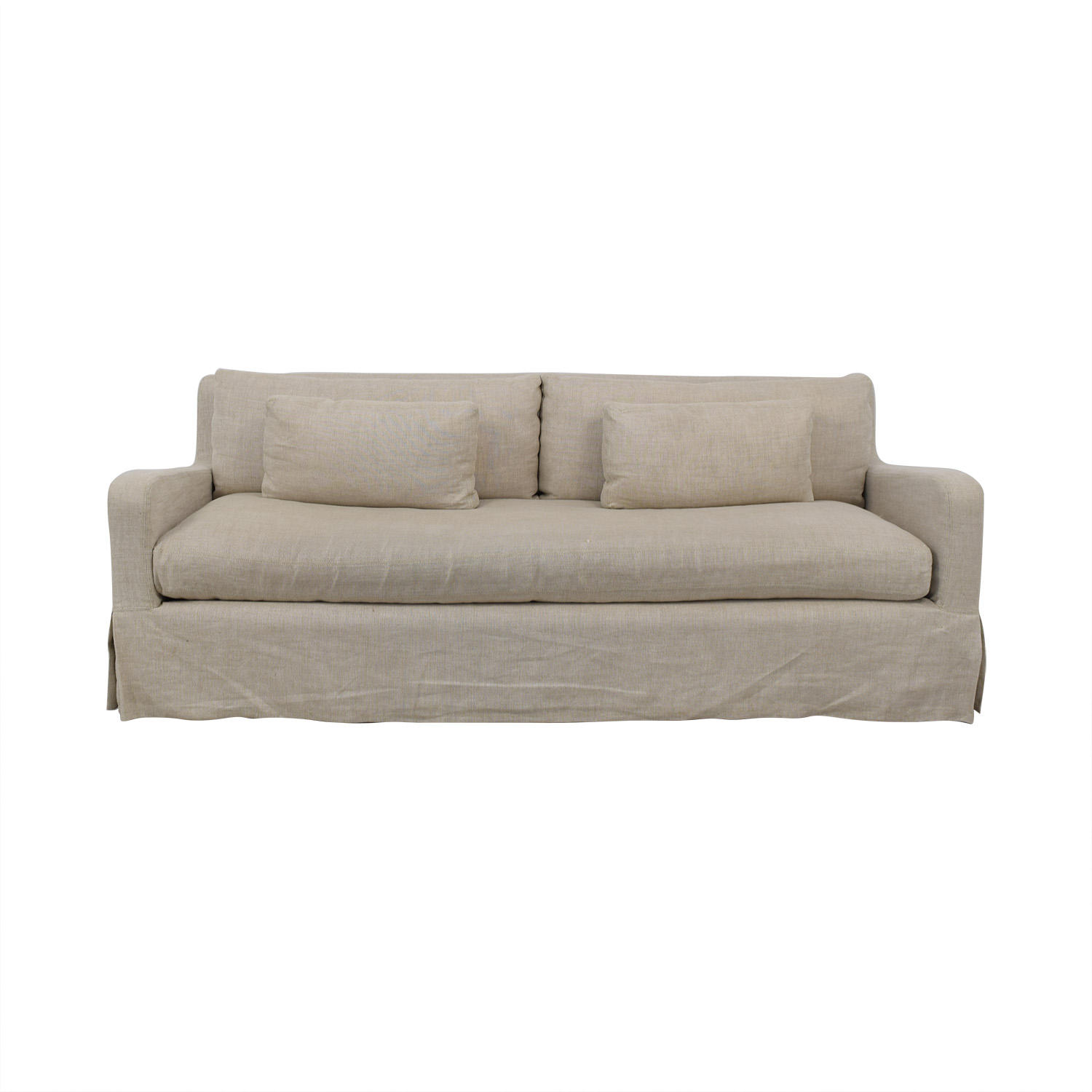 buy Restoration Hardware Restoration Hardware Belgian Track Arm Slipcovered Two-Seat Cushion Sofa online
